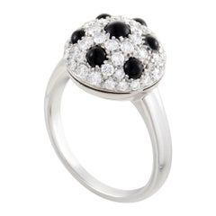 Picchiotti Womens 18 Karat White Gold Diamond and Onyx Ring
