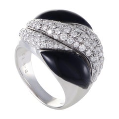 Picchiotti Womens 18 Karat White Gold Diamond Pave Onyx Cocktail Ring