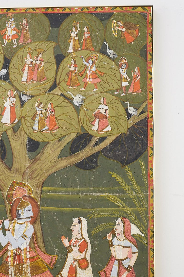 Pichhwai Hindu Painting of Krishna under Tree of Life For Sale 6