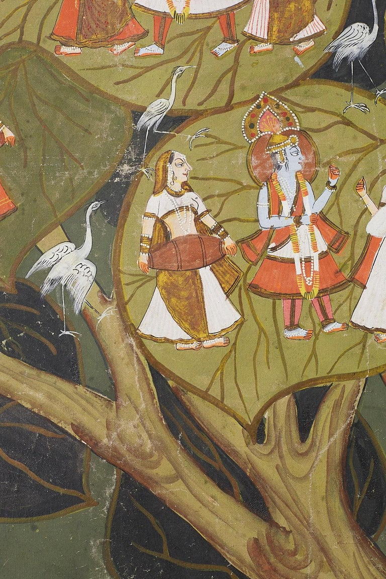 Pichhwai Hindu Painting of Krishna under Tree of Life For Sale 8