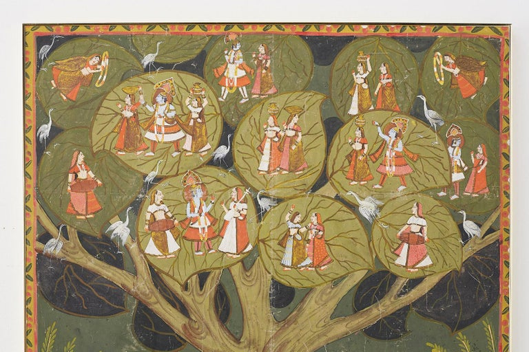 Anglo Raj Pichhwai Hindu Painting of Krishna under Tree of Life For Sale