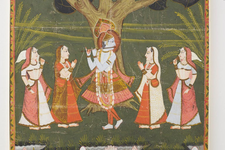 Indian Pichhwai Hindu Painting of Krishna under Tree of Life For Sale