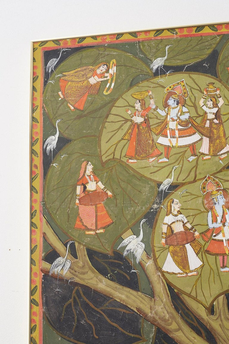 20th Century Pichhwai Hindu Painting of Krishna under Tree of Life For Sale