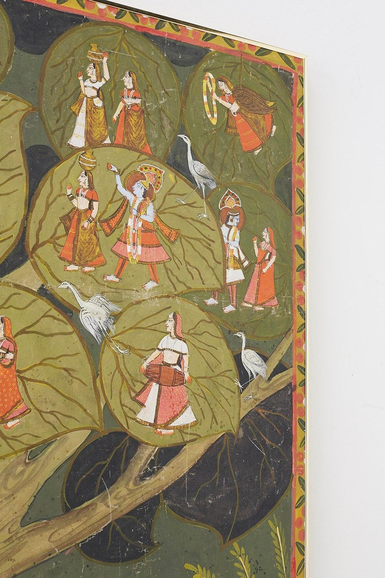 Metal Pichhwai Hindu Painting of Krishna under Tree of Life For Sale
