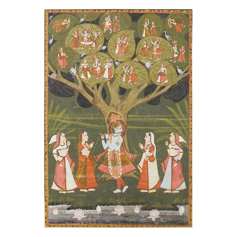 Pichhwai Hindu Painting of Krishna under Tree of Life For Sale