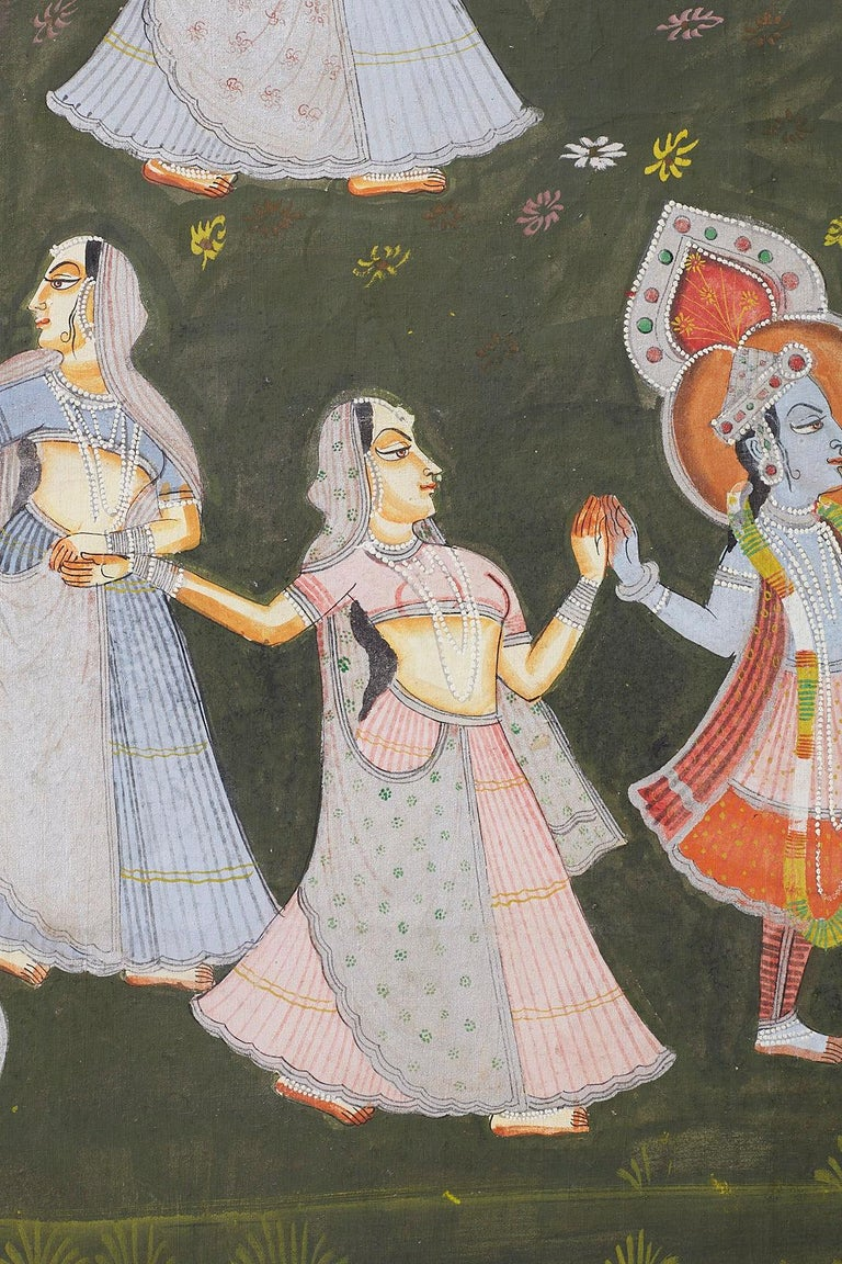 Pichhwai Hindu Painting of Krishna with Dancing Gopis For Sale 3