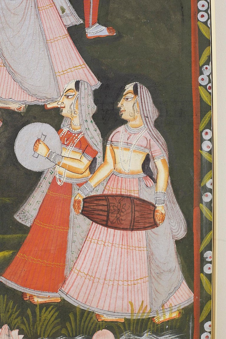 Pichhwai Hindu Painting of Krishna with Dancing Gopis For Sale 4