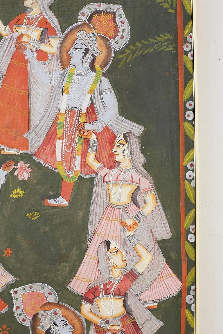 Pichhwai Hindu Painting of Krishna with Dancing Gopis For Sale 6