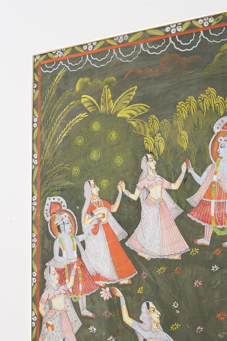 Pichhwai Hindu Painting of Krishna with Dancing Gopis For Sale 7