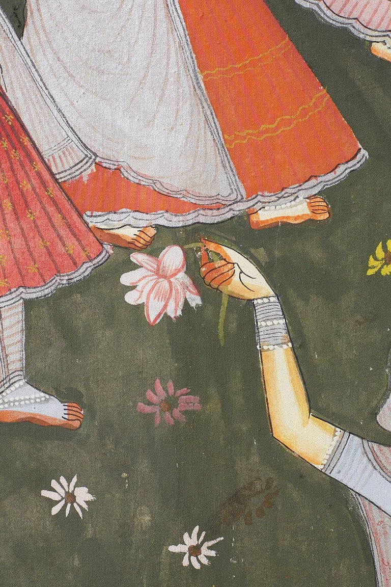 Pichhwai Hindu Painting of Krishna with Dancing Gopis For Sale 9