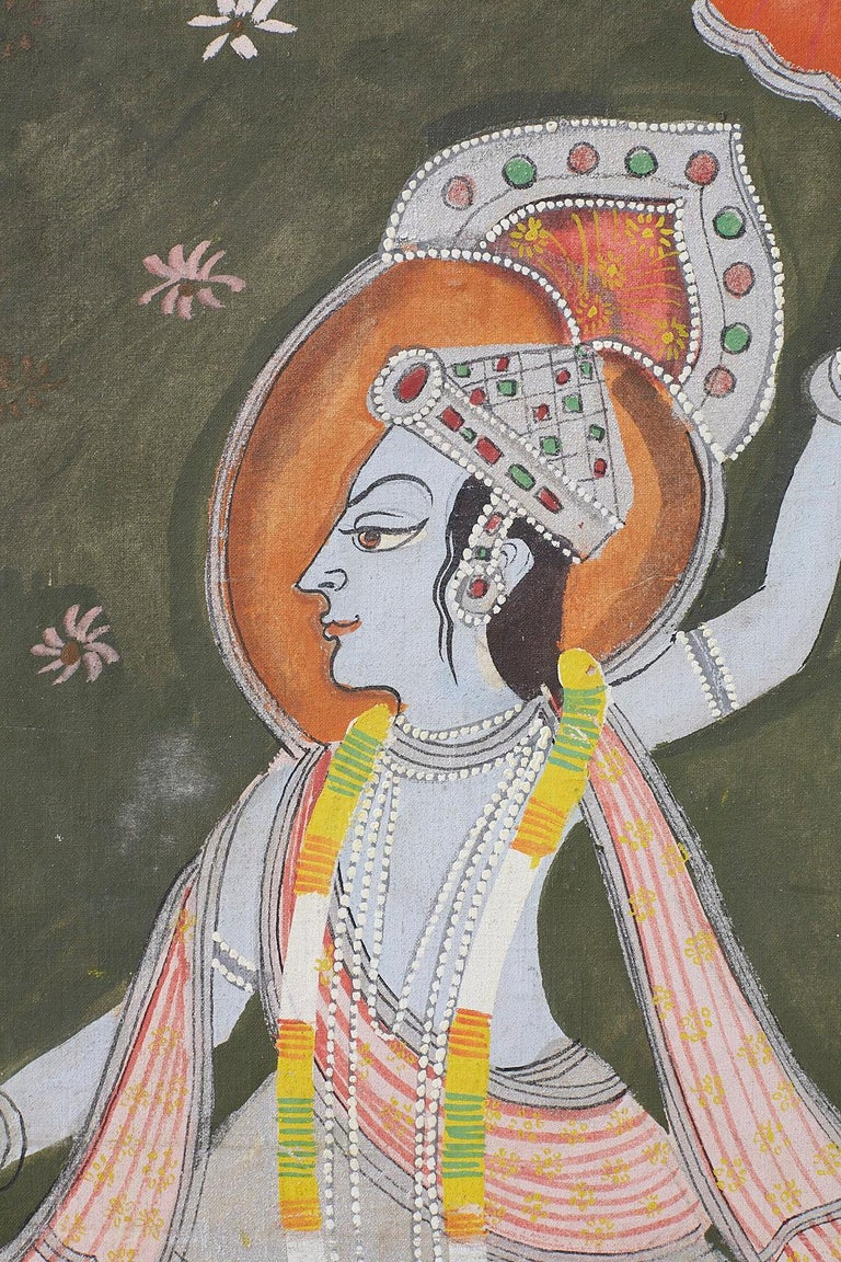 Pichhwai Hindu Painting of Krishna with Dancing Gopis For Sale 11