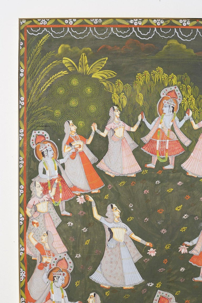 Anglo Raj Pichhwai Hindu Painting of Krishna with Dancing Gopis For Sale