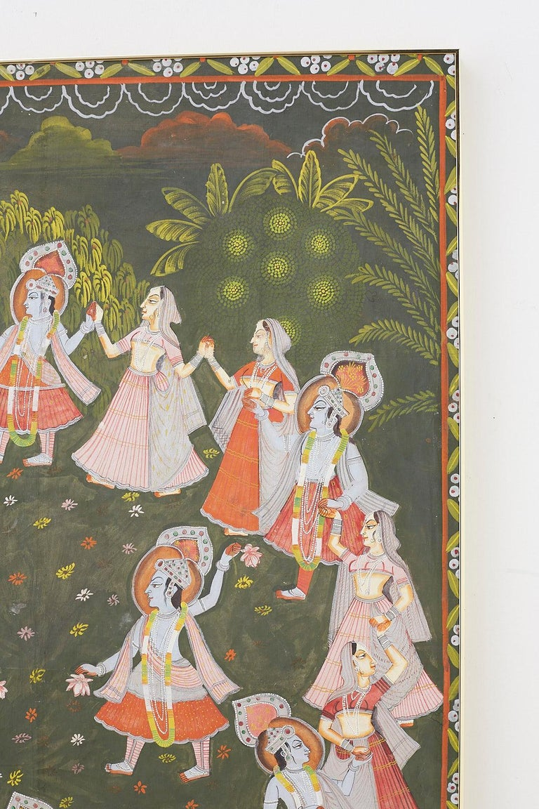 Indian Pichhwai Hindu Painting of Krishna with Dancing Gopis For Sale