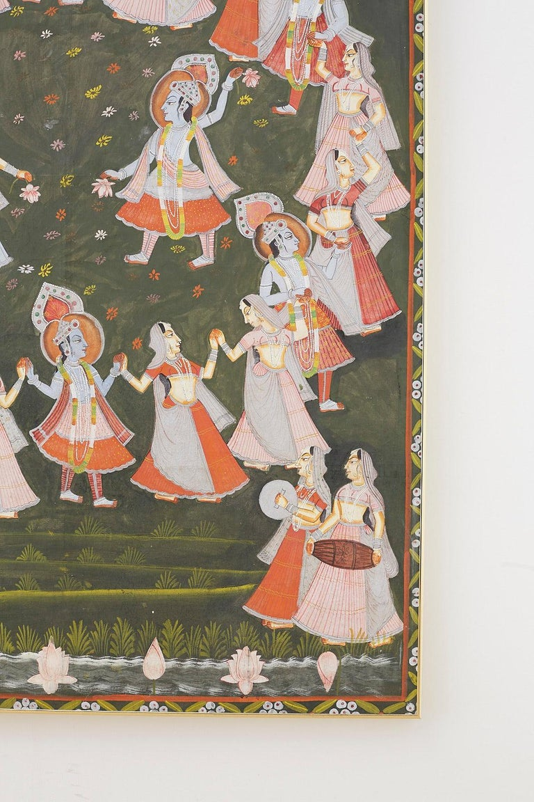 Gilt Pichhwai Hindu Painting of Krishna with Dancing Gopis For Sale