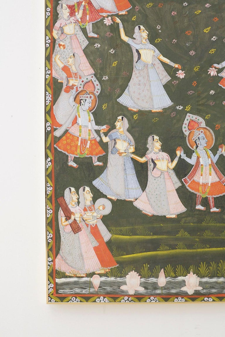 Pichhwai Hindu Painting of Krishna with Dancing Gopis In Good Condition For Sale In Oakland, CA