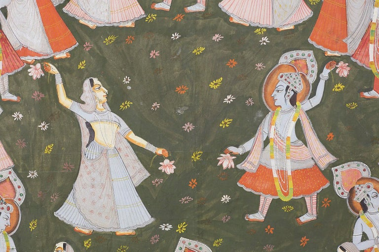 20th Century Pichhwai Hindu Painting of Krishna with Dancing Gopis For Sale