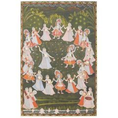Pichhwai Hindu Painting of Krishna with Dancing Gopis