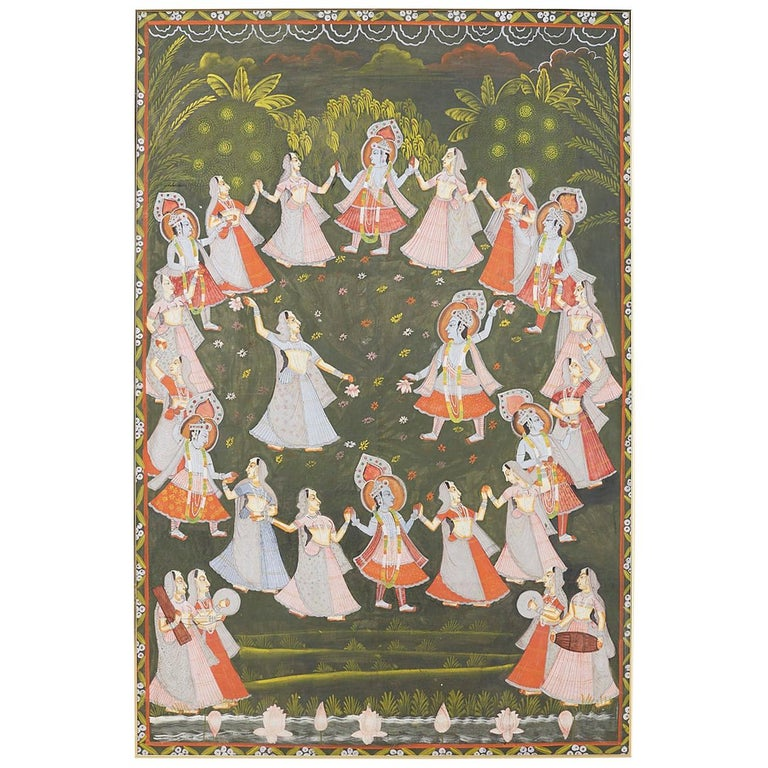 Pichhwai Hindu Painting of Krishna with Dancing Gopis For Sale