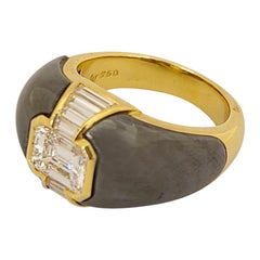 Pichiotti 1.19 Carat Emerald Cut Diamond and Hematite Gypsy Ring