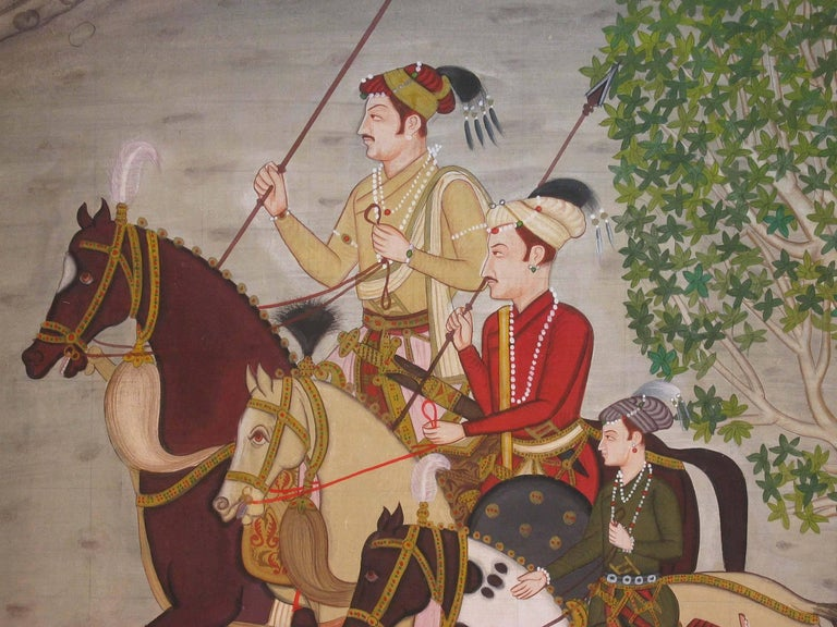 Anglo-Indian Pichwai Painting in Finally Detailed Decorated Frame For Sale