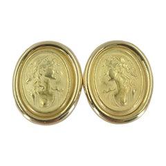 Picinotti 18 Karat Yellow Gold Cameo Stud Earrings