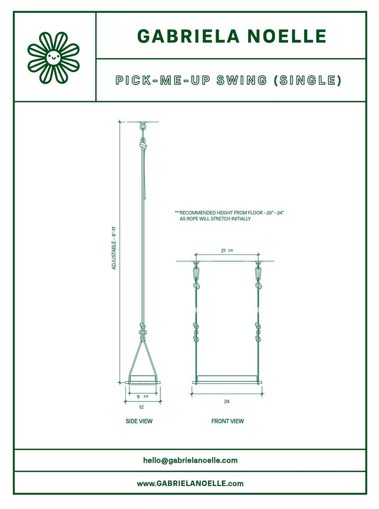 Contemporary Pick-Me-Up Swing, Single Seater in Organic Drill For Sale