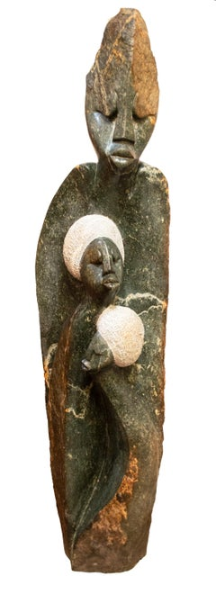'Me and My Family' original stone Shona sculpture by Picket Mazhindu Bumhira