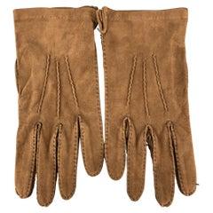 PICKETT Size 8.5 Brown Suede Calf Gloves