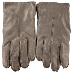 PICKETT Size 9 Dark Brown Leather Cashmere Lined Gloves