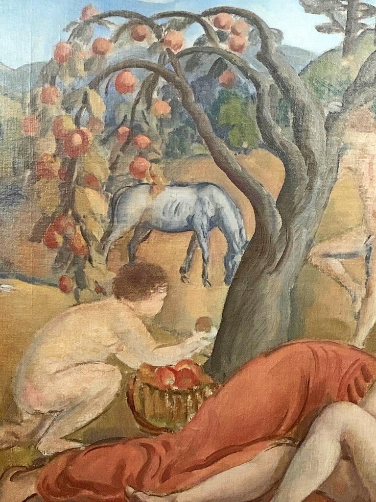 This gorgeous, idyllic depiction of nude figures enjoying the beauty and abundance of Arcadia, some picking apples and others making love, was painted by David Karfunkle in the 1930s, who immigrated from Austria to America and studied at the