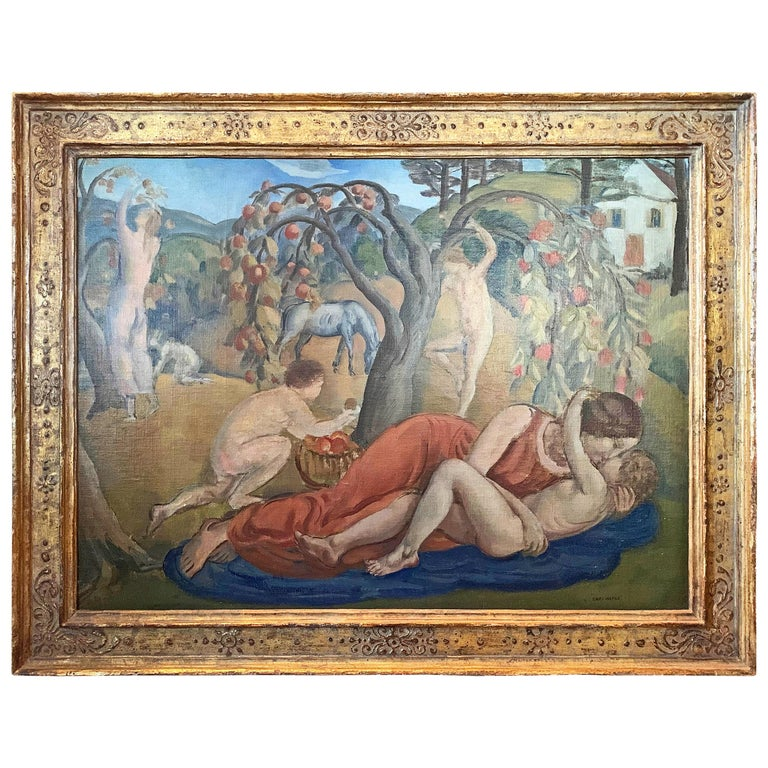 """""""Picking Apples in Arcadia,"""" Art Deco Painting with Nudes by Harlem Muralist For Sale"""