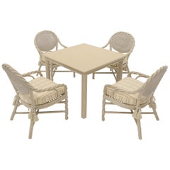 Pickled Beige Dining Game Room Table Four Chairs Set by McGuire
