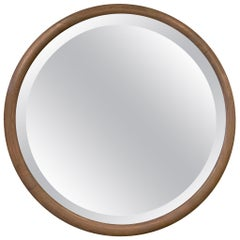 Pickled Oak Round Beveled Wall Mirror