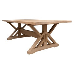 Pickled Pine Farm Table with Trestle Base