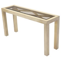Pickled White Wash Finish Parsons Style Console Table with Glass Top