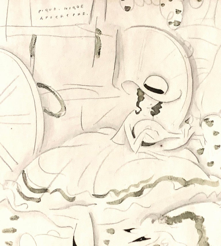 This large and important drawing was made by Eduardo Benito, the pioneering artist who helped to establish the impossibly sophisticated images of modern women and men promulgated by Vogue magazine in the 1920s and 1930s. Born in Spain, Benito's work