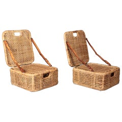 Picnic Chairs, Cane and Leather, Sweden, 1950s