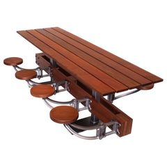 Picnic Table, Outdoor Patio Dining Table with Swing Out Seats