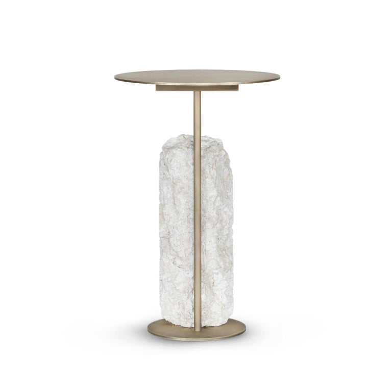 Hand-Crafted Pico Side Table M Grey Coral Color Stone Split Face Effect Oxidized Brass Matte For Sale