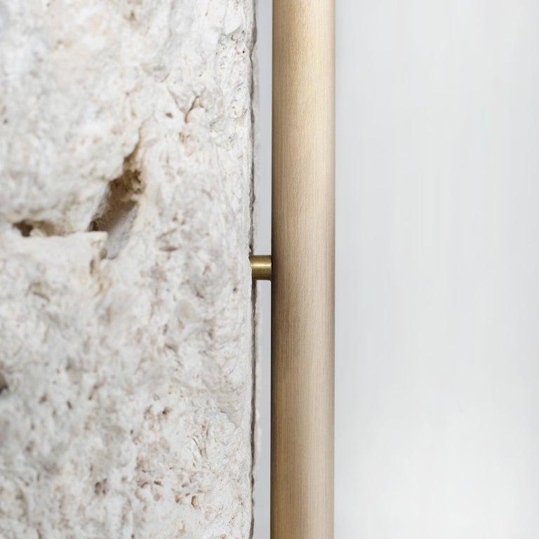 Pico Side Table M Grey Coral Color Stone Split Face Effect Oxidized Brass Matte For Sale 2