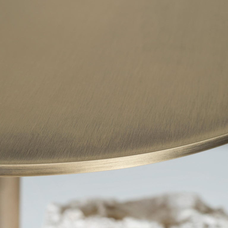 Pico Side Table M Grey Coral Color Stone Split Face Effect Oxidized Brass Matte For Sale 3