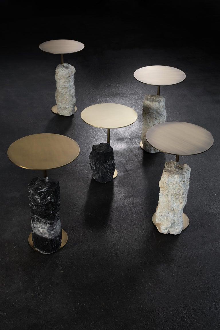 Pico Side Table M Grey Coral Color Stone Split Face Effect Oxidized Brass Matte For Sale 5