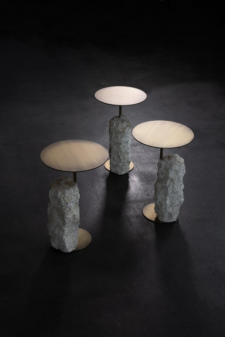Portuguese Pico Side Table M Grey Coral Color Stone Split Face Effect Oxidized Brass Matte For Sale