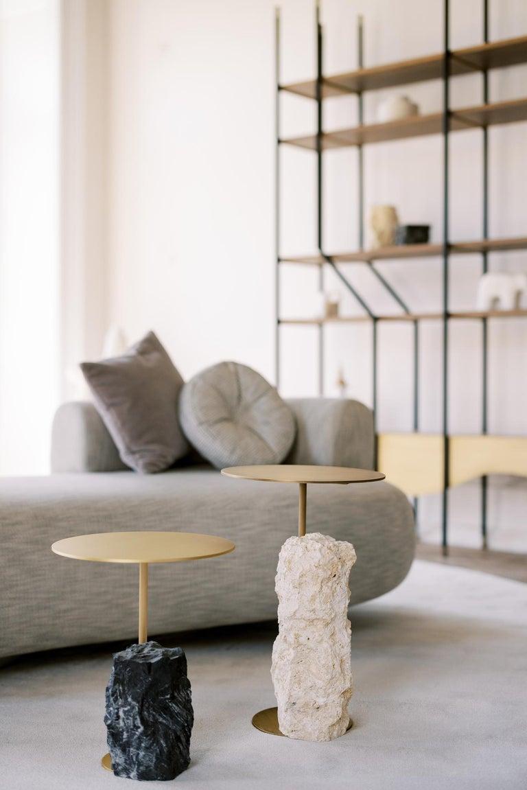 Pico Side Table M Grey Coral Color Stone Split Face Effect Oxidized Brass Matte For Sale 1