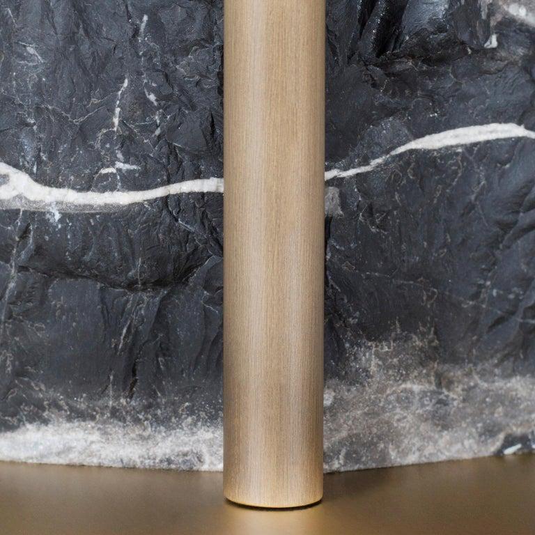 Contemporary Pico Side Table M Silver Portoro Marble Split Face Effect Oxidized Brass Matte For Sale