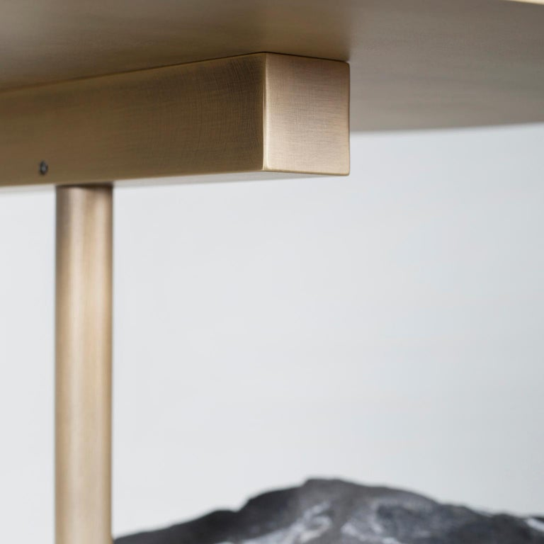 Pico Side Table M Silver Portoro Marble Split Face Effect Oxidized Brass Matte For Sale 1