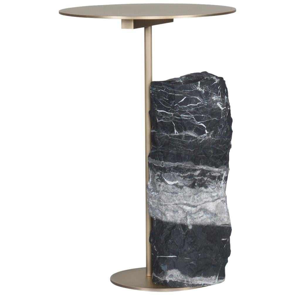 Pico Side Table M Silver Portoro Marble Split Face Effect Oxidized Brass Matte