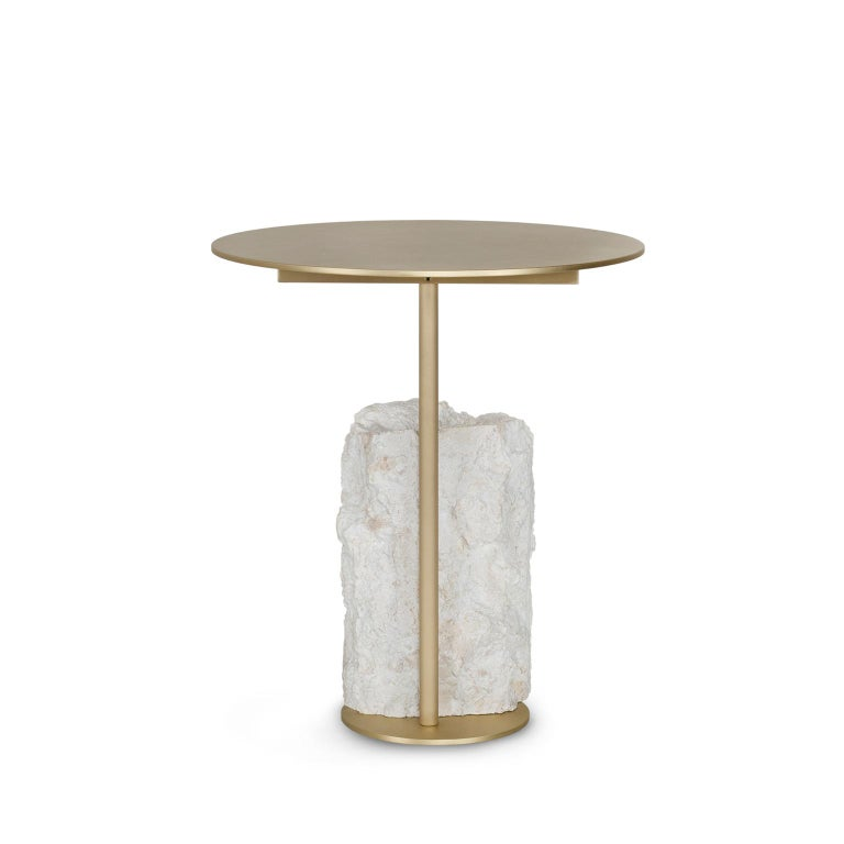 Contemporary Pico Side Table S Grey Coral Color Stone Split Face Effect Brushed Brass Matte For Sale