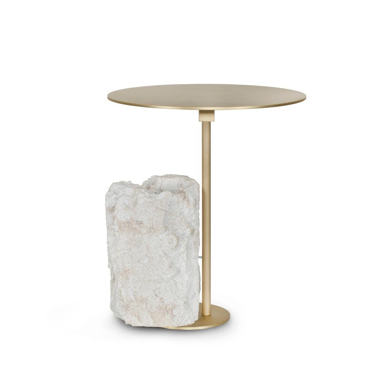 Modern Pico Side Table S Grey Coral Color Stone Split Face Effect Brushed Brass Matte For Sale