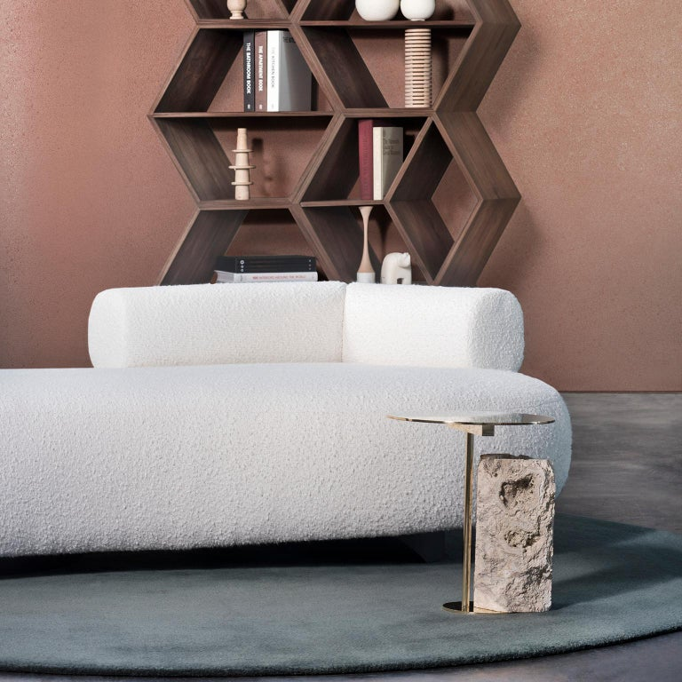 Pico Side Table S Grey Coral Color Stone Split Face Effect Brushed Brass Matte In New Condition For Sale In Cartaxo, PT